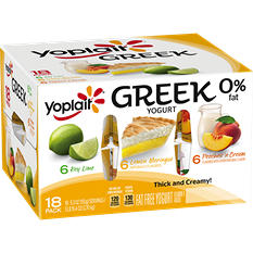 Yoplait Greek Key Lime/Lemon/Peaches Yogurt Variety Pack (5.3 oz., 18 pk.)