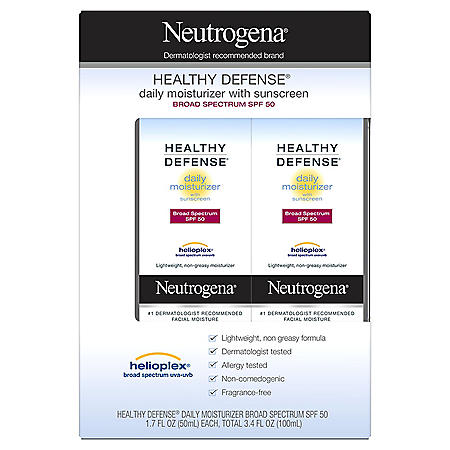 Neutrogena Healthy Defense Daily Moisturizer with Broad Spectrum SPF50 Sunscreen (1.7 fl. oz., 2 pk.)