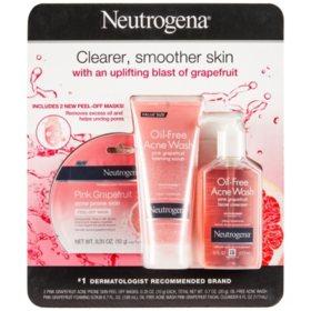 Neutrogena Oil Free Acne Wash Pink Grapefruit Foaming Scrub 6.7oz + Facial Cleanser 6oz + 2 Peel-Off Masks