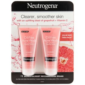 Neutrogena Oil-Free Pink Grapefruit Exfoliating Acne Face Wash and Foaming Scrub (6.7 fl. oz., 2 pk.)