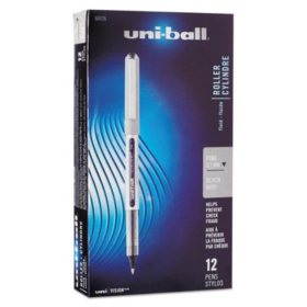 uni-ball Waterproof Vision Roller Ball Stick Pens, Select Color (Fine, 12 ct.)