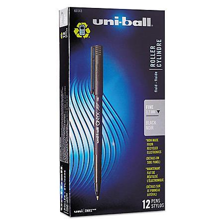 uni-ball - Onyx Roller Ball Stick Dye-Based Pen, Black Ink, Fine -  Dozen