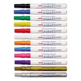Sanford - uni-Paint Markers, Fine Point, Assorted -  12/Set