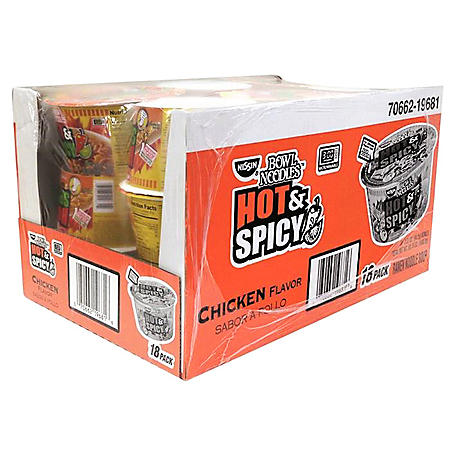 Nissin Hot & Spicy Bowl Noodles, Chicken Flavor (3.32 oz., 18 pk.)