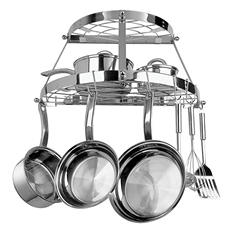 2 Shelf Semi-Circle Stainless Steel Wall-Mounted Cookware Storage Pot Rack
