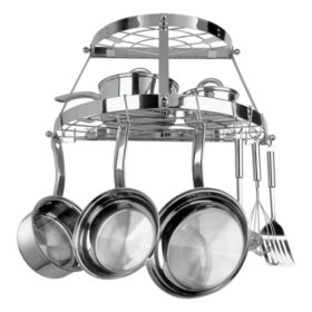 Range Kleen 2-Shelf Semi-Circle Wall-Mounted Pot Rack, Stainless Steel