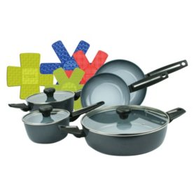 Moneta Azul Gres 8-Piece Ceramic Nonstick Cookware Pan Set and Bonus Cookware Protectors