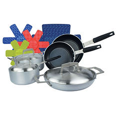 8-Piece PRO Brushed Aluminum Cookware Pan Set with Protection Base Non-Stick Coating and Bonus Cookware Protectors