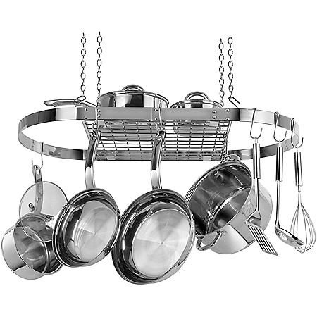 Range Kleen Stainless-Steel Oval Hanging Pot Rack
