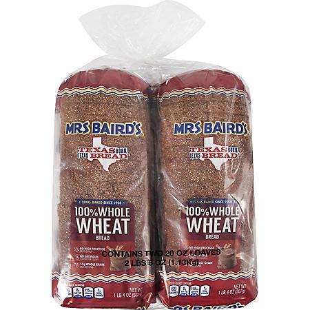 Mrs. Baird's 100% Whole Wheat Bread (20oz / 2pk)