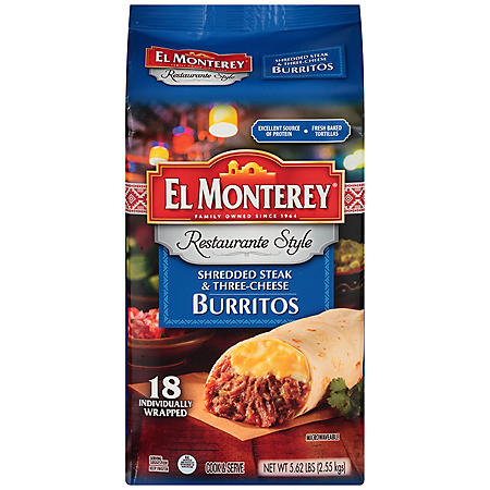 El Monterey Restaurante Style Steak & Three-Cheese Burritos (5.62 lb., 18 ct.)