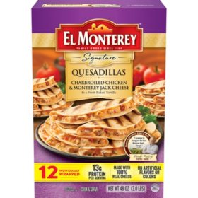 El Monterey Charbroiled Chicken and Monterey Jack Cheese Quesadillas (12 ct.)