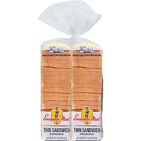 Evangeline Maid Thin Sandwich Bread (20oz / 2pk)