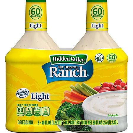 Hidden Valley® Original Ranch® Light Salad Dressing & Topping, Gluten Free (40 oz., 2 pk.)
