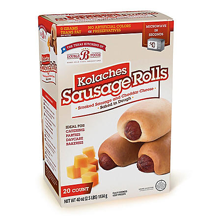 Double B Foods Kolaches Sausage Rolls with Cheese, Frozen (20 ct.)