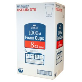 WinCup Foam Drink Cups, White (Choose Your Size and Count)