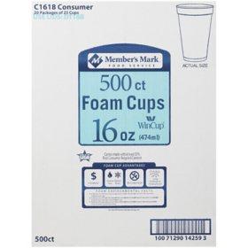 Member's Mark Foam Cups (16 oz., 500 ct.)