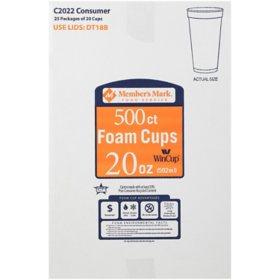 Member's Mark Foam Cups (20 oz., 500 ct.)