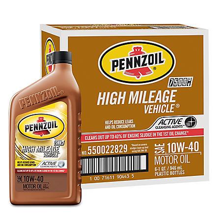 Pennzoil High Mileage SAE 10W-40 Motor Oil (6-pack/1 quart bottles)