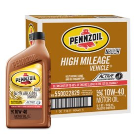 Pennzoil High Mileage SAE 10W-40 Motor Oil (6-pack/1 quart bottles)