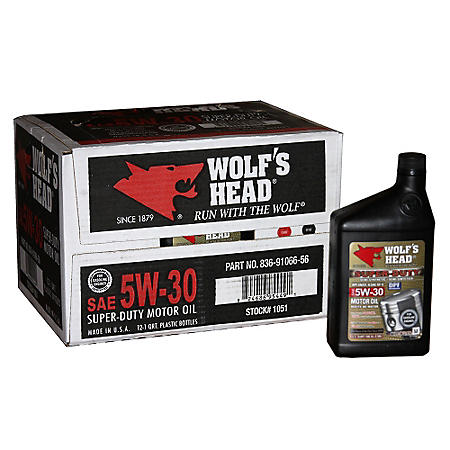 Wolf's Head 5W30 Motor Oil - 1 Quart Bottles - 12 pack