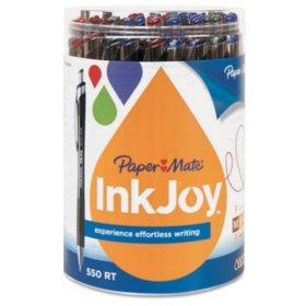 Paper Mate - InkJoy 550 RT Ballpoint Retractable Pen, 1.0 mm -  12 Black/12 Blue/6 Red/6 Purple