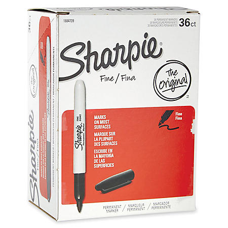 Sharpie Permanent Marker, Fine Point, Select Color - 36/Pack