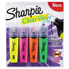 Sharpie - Clearview Highlighter, Blade Tip, Assorted Ink -  4 per Set