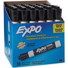 EXPO Low Odor Chisel Tip Dry Erase Marker, Black or Assorted (36 pk.)