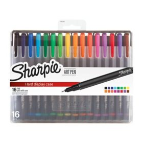 Sharpie Art Pens With Stand-up Hard Case, Fine Point, Assorted Colors (16 ct.)
