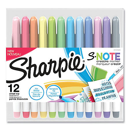 Sharpie S-Note Creative Markers, Chisel Tip, Assorted Colors, 12/Pack