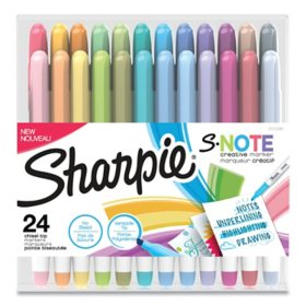 Sharpie S-Note Creative Markers, Chisel Tip, Assorted Colors, 24/Pack