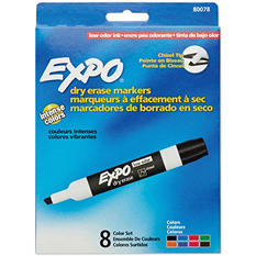 EXPO Low Odor Dry Erase Marker, Assorted Colors (Chisel Tip, 8 ct.)