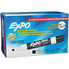 EXPO Low Odor Dry Erase Markers, Black (Bullet Tip, 12 ct.)