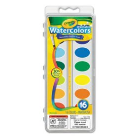 Crayola Washable Watercolor Paint, 16 Assorted Colors
