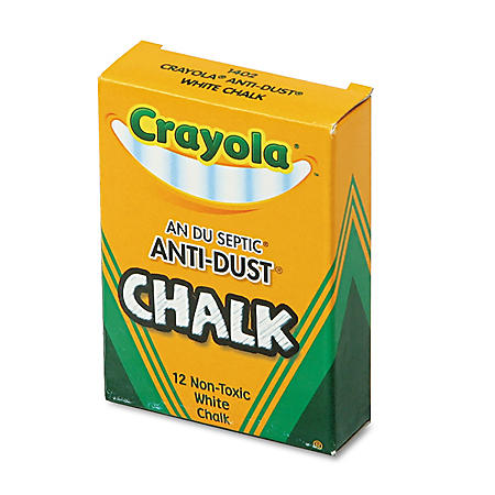 Crayola Non-toxic Anti-Dust Chalk, White, 12 sticks per box