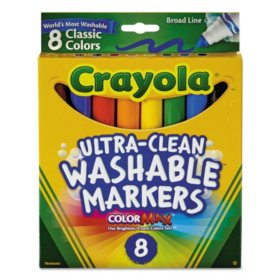Crayola Washable Markers, Broad Point, Classic Colors, 8-pack