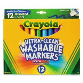 Crayola® Washable Markers, Broad Point, Classic Colors, 12/Set