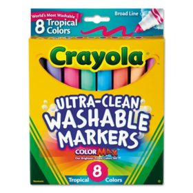 Crayola Tropical Color Washable Markers, Broad Bullet Tip, Assorted Colors, 8
