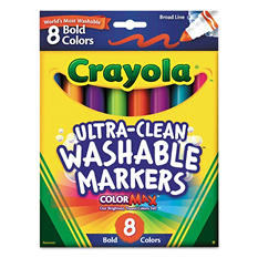 Crayola Washable Markers - Broad Point - Bold Colors - 8 Per Pack