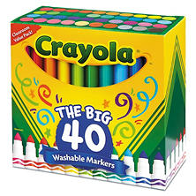 Crayola Washable Markers, Broad Point, Assorted Classic Colors, 40 ct.