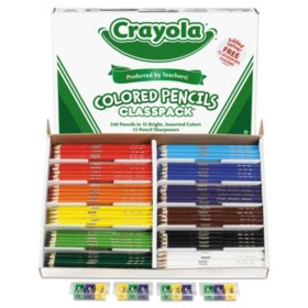 Crayola Colored Woodcase Pencil Classpack, 3.3mm, 20 EA of 12 Ast Colors + 12 Sharpeners