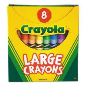 Crayola Large Crayons, Tuck Box, 8 Colors/Box