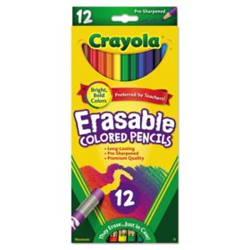 Crayola Erasable Color Pencil Set, 3.3 mm, 2B, Assorted Lead/Barrel Colors