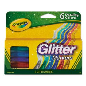 Crayola Glitter Markers, Medium Bullet Tip, Assorted Colors, 6/Set