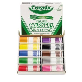 Crayola Non-Washable Classpack Markers, Fine Point, Ten Assorted Colors (200 ct.)
