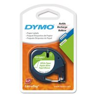 """DYMO LetraTag - 10697 Paper Label Tape, 1/2"""", White (2-pack)"""