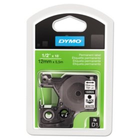 DYMO - D1 Permanent High-Performance Polyester Label Tape, 1/2in x 18ft -  Black on White