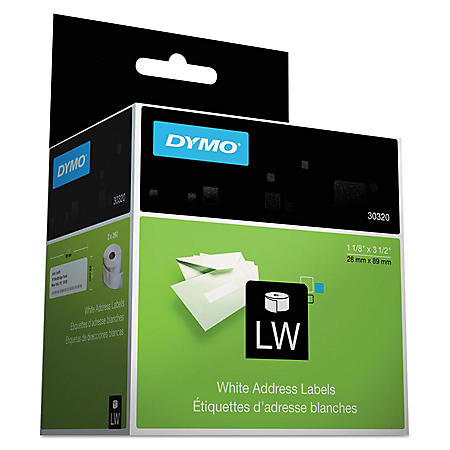 DYMO LabelWriter Address Labels, 1-1/8 x 3-1/2, White, Select Quantity