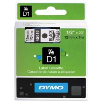 """DYMO - D1 Label Tape, 1/2"""", Black on Clear"""